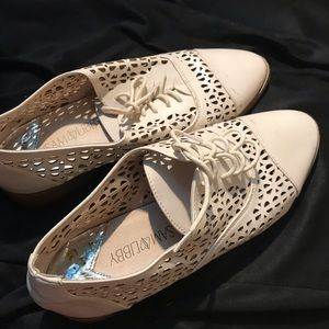 Cream/Beige Loafers with patterned cut outs!
